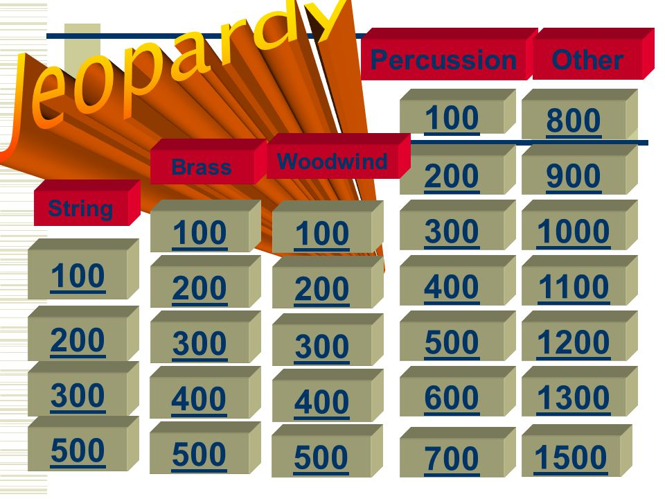 Jeopardy Percussion. Other. 100. 800. Woodwind. Brass. 200. 900. String. 100. 100. 300. 1000.