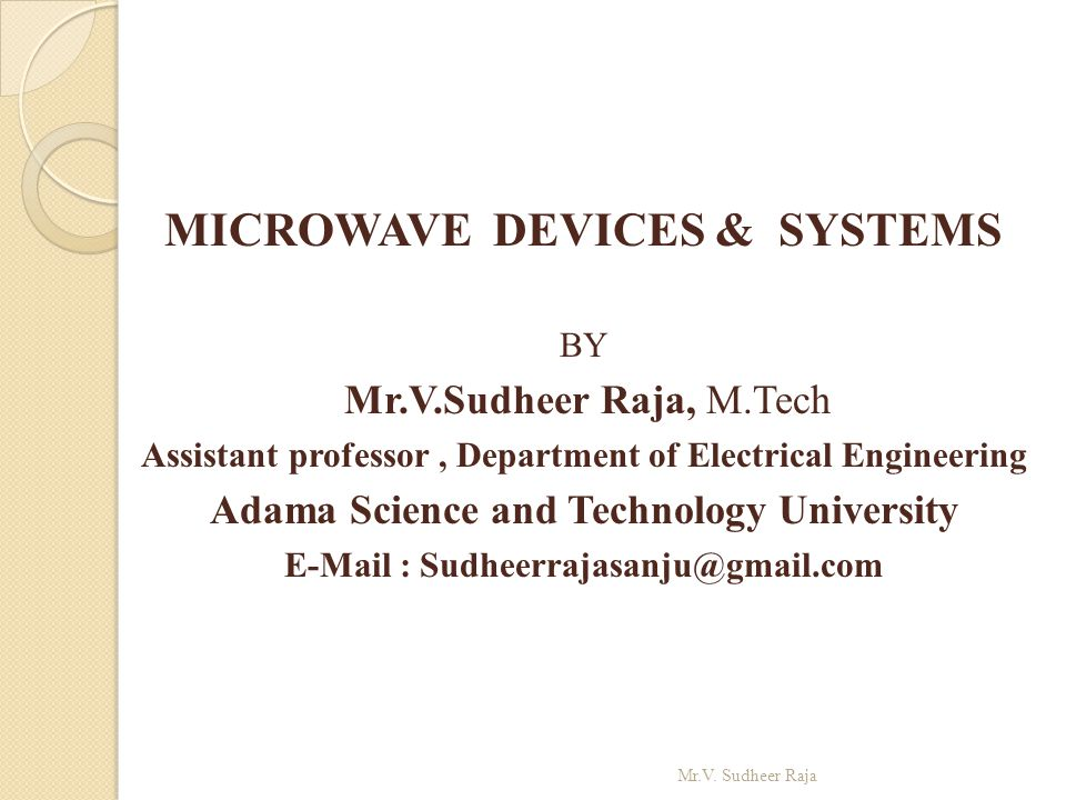 MICROWAVE DEVICES & SYSTEMS