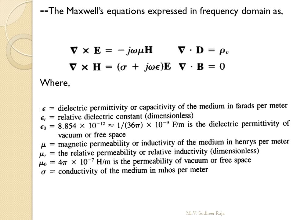 --The Maxwell's equations expressed in frequency domain as,