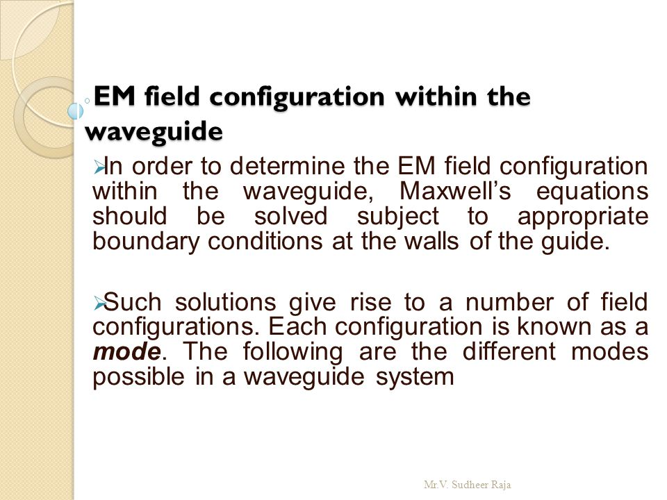 EM field configuration within the waveguide