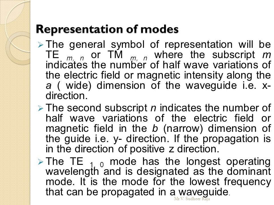 Representation of modes
