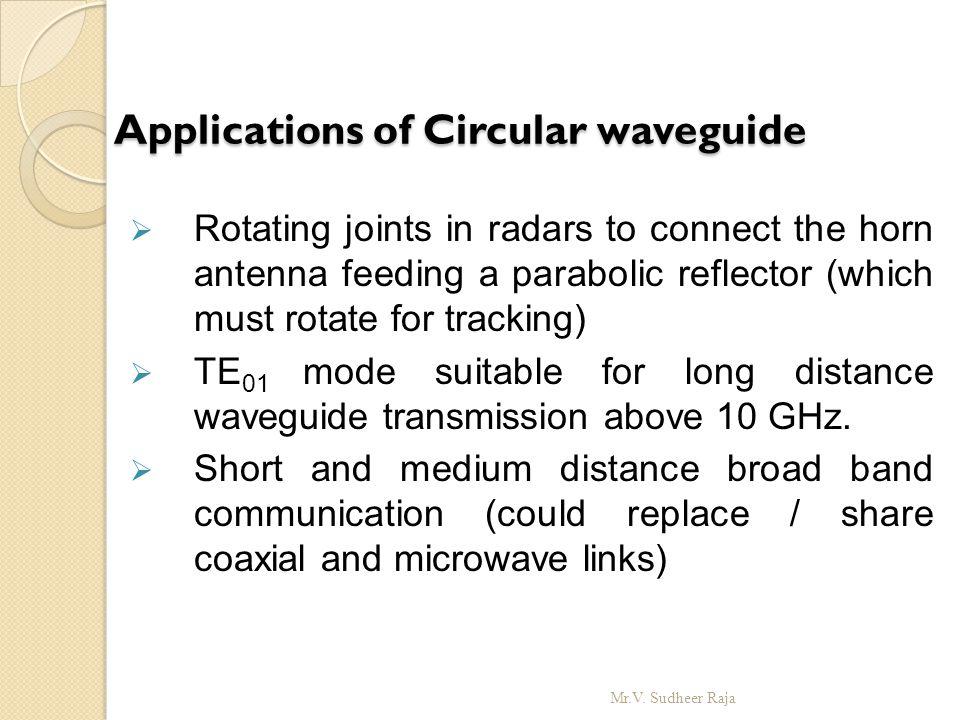 Applications of Circular waveguide