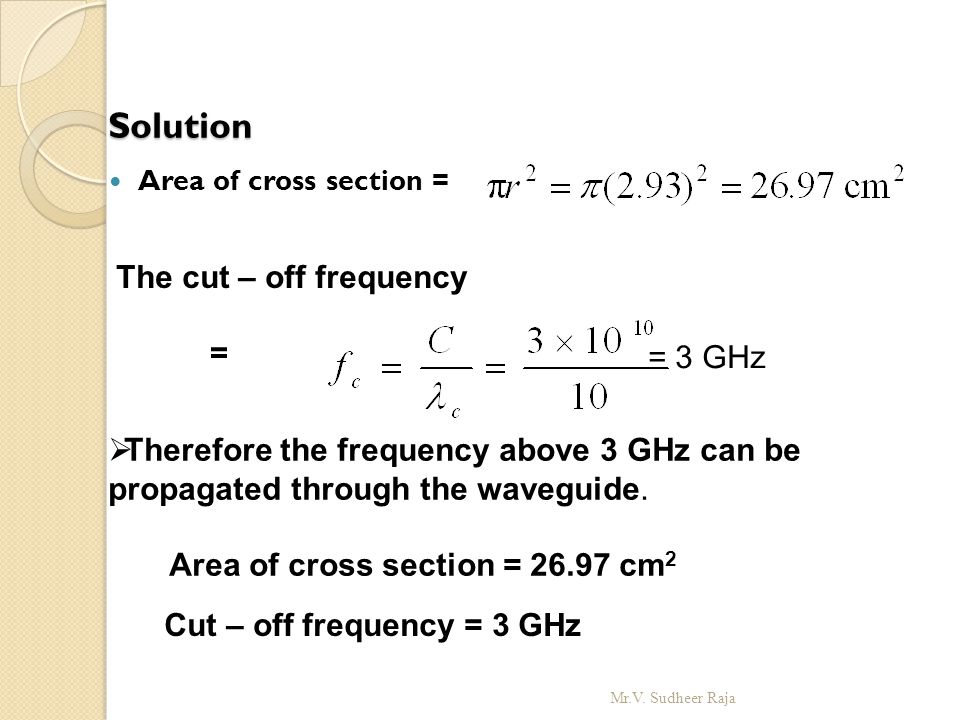 Solution The cut – off frequency = = 3 GHz