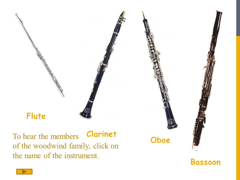 Flute Clarinet. To hear the members of the woodwind family, click on the name of the instrument.