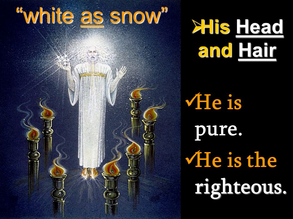 white as snow His Head and Hair He is pure. He is the righteous.