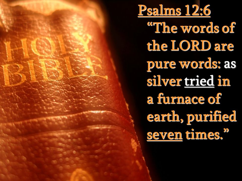 Psalms 12:6 The words of the LORD are pure words: as silver tried in a furnace of earth, purified seven times.