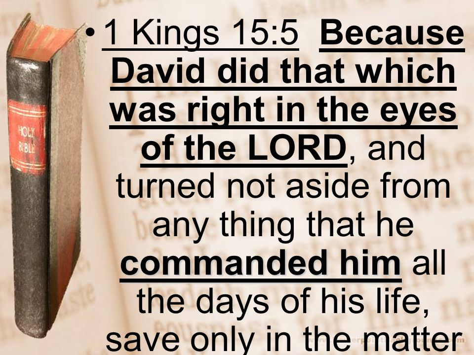 1 Kings 15:5 Because David did that which was right in the eyes of the LORD, and turned not aside from any thing that he commanded him all the days of his life, save only in the matter of Uriah the Hittite.
