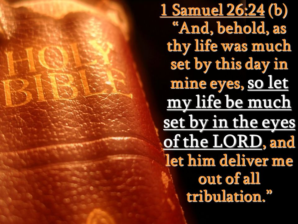 1 Samuel 26:24 (b) And, behold, as thy life was much set by this day in mine eyes, so let my life be much set by in the eyes of the LORD, and let him deliver me out of all tribulation.