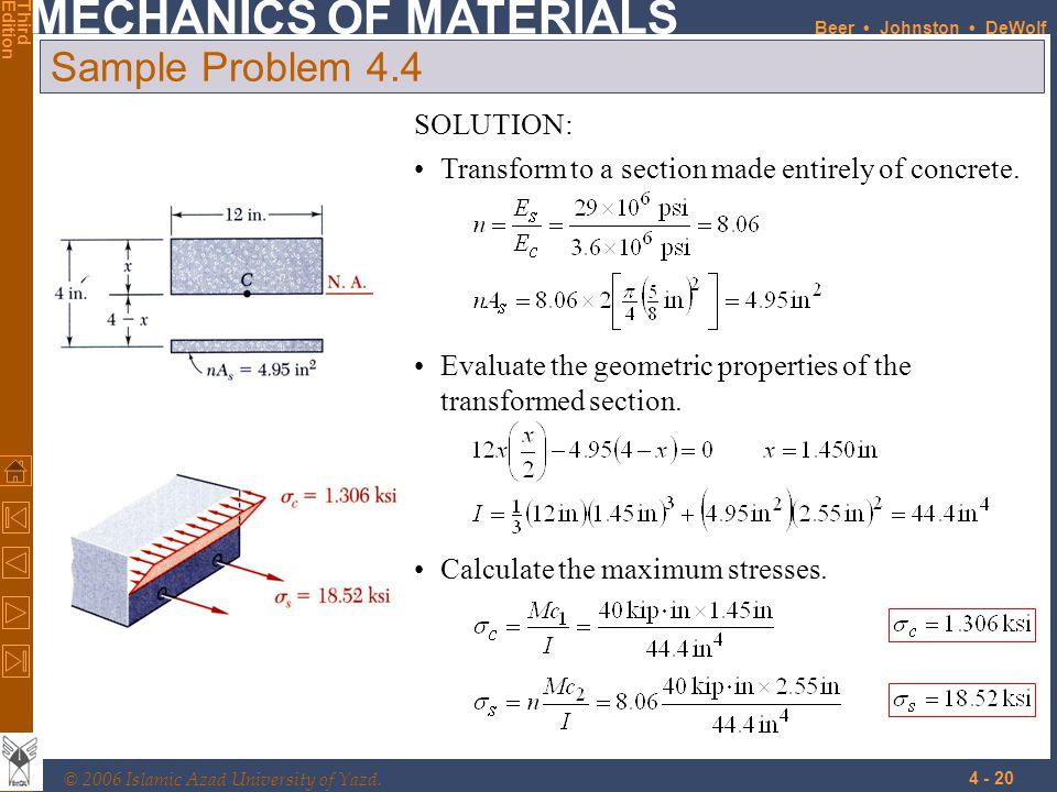 Sample Problem 4.4 SOLUTION: