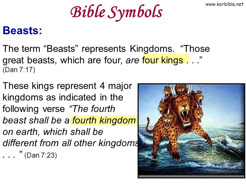 Bible Symbols Beasts: The term Beasts represents Kingdoms. Those great beasts, which are four, are four kings . . . (Dan 7:17)