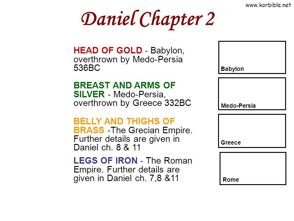 Daniel Chapter 2 HEAD OF GOLD - Babylon, overthrown by Medo-Persia 536BC. Babylon.
