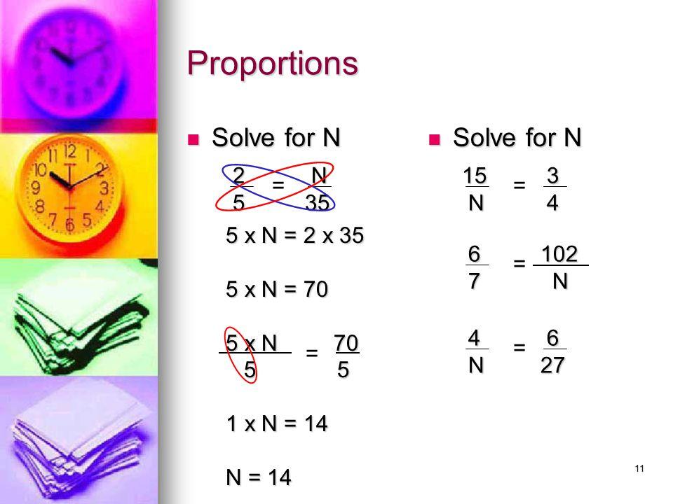 Proportions Solve for N Solve for N 2 5 N 35 15 N 3 4 = =