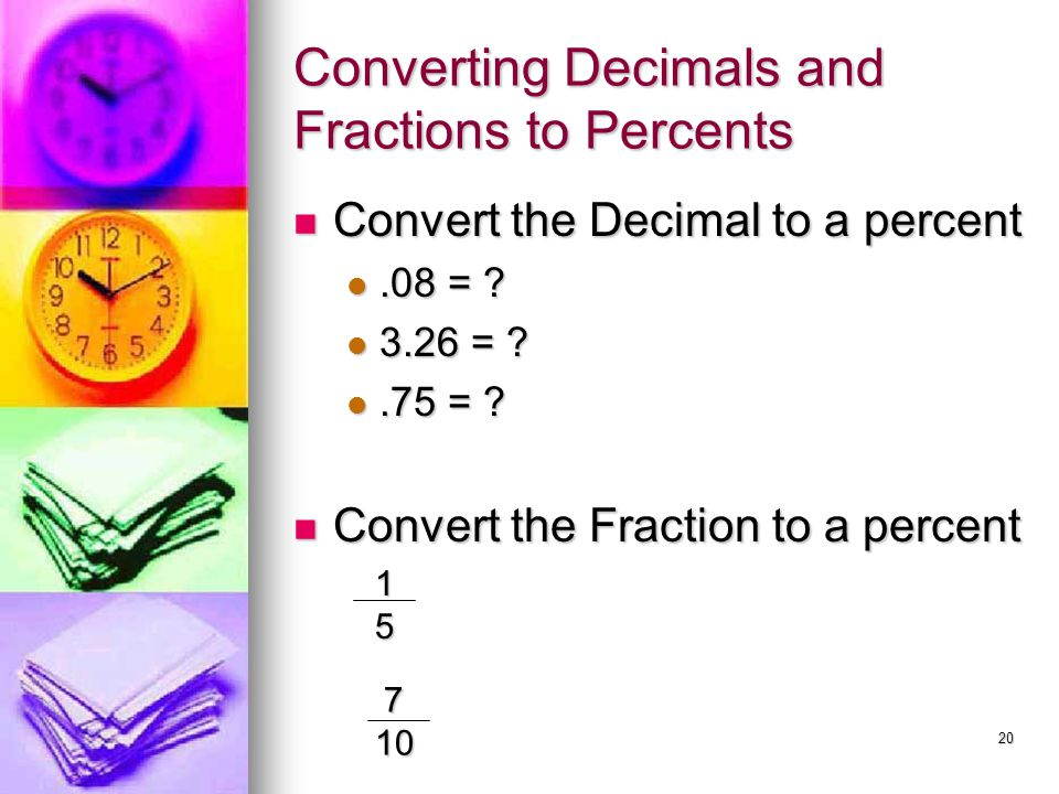 Converting Decimals and Fractions to Percents