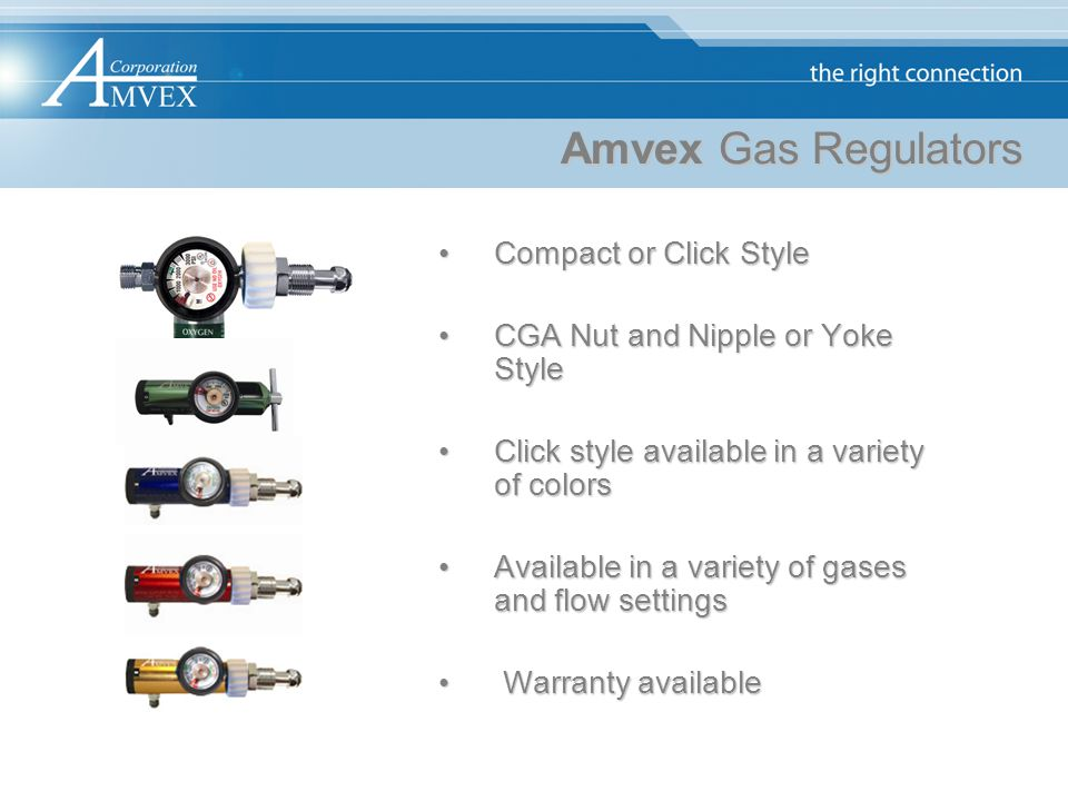 Amvex Gas Regulators Compact or Click Style