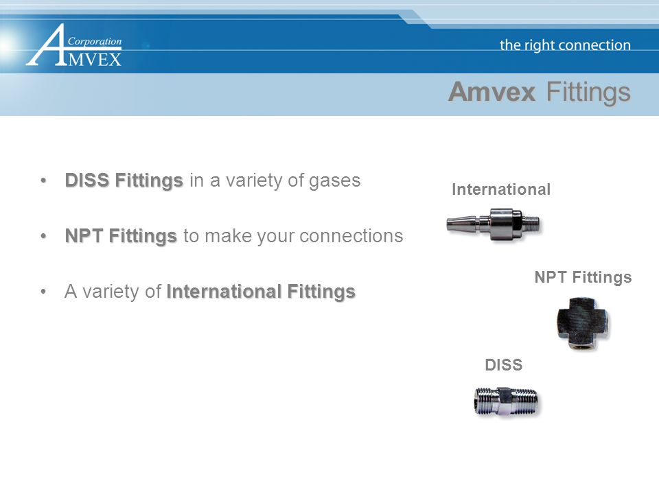 Amvex Fittings DISS Fittings in a variety of gases