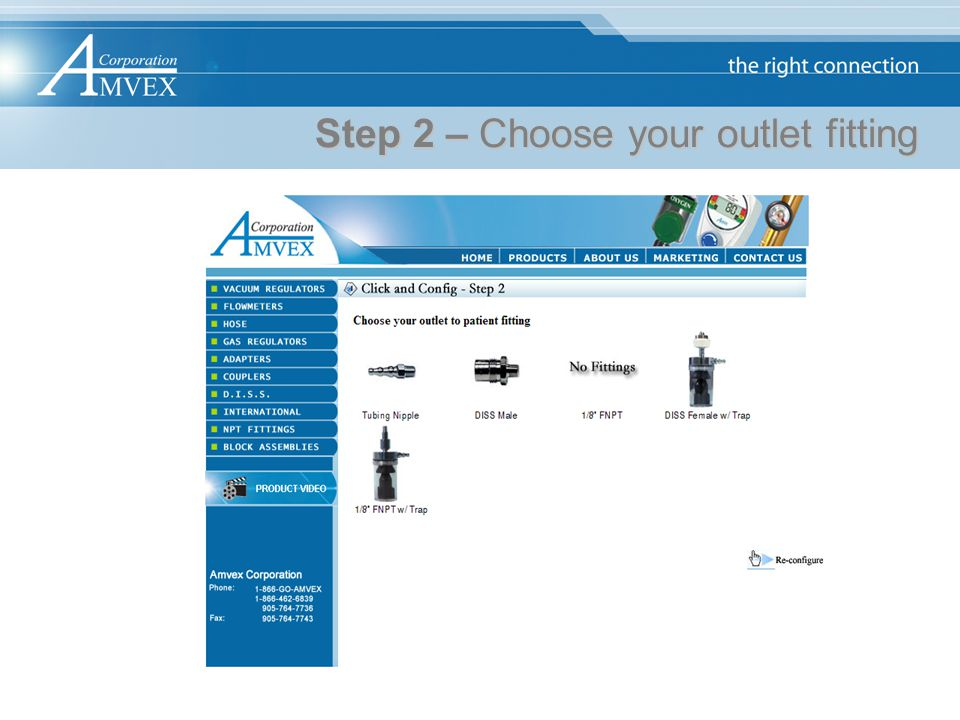 Step 2 – Choose your outlet fitting