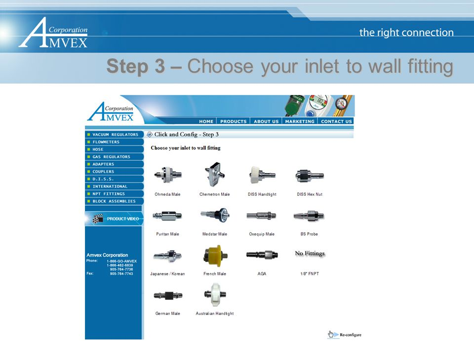 Step 3 – Choose your inlet to wall fitting