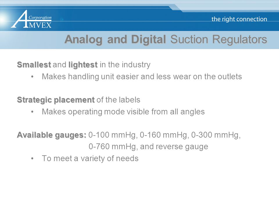Analog and Digital Suction Regulators