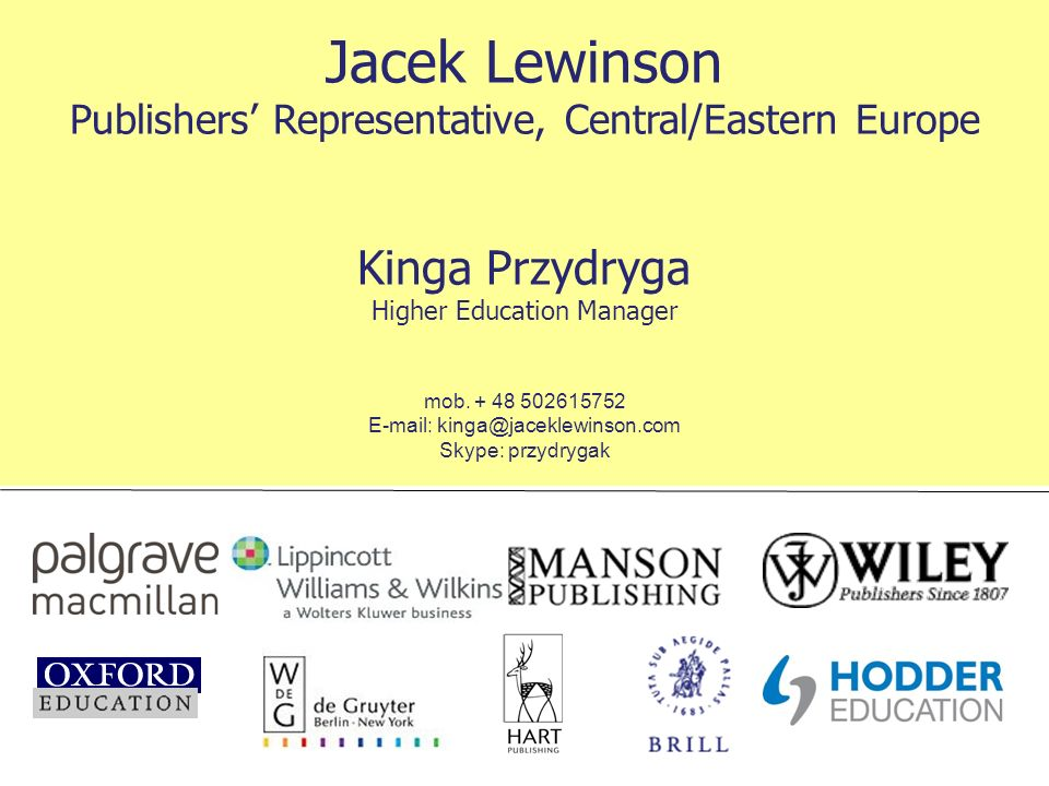 Jacek Lewinson Publishers' Representative, Central/Eastern Europe
