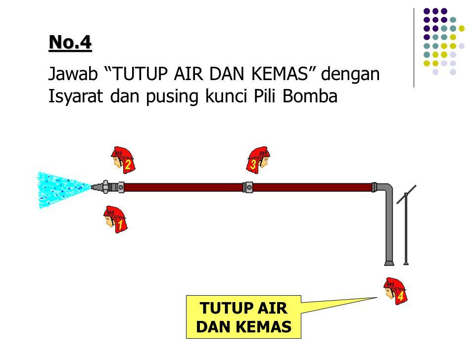 Jawab TUTUP AIR DAN KEMAS dengan Isyarat dan pusing kunci Pili Bomba