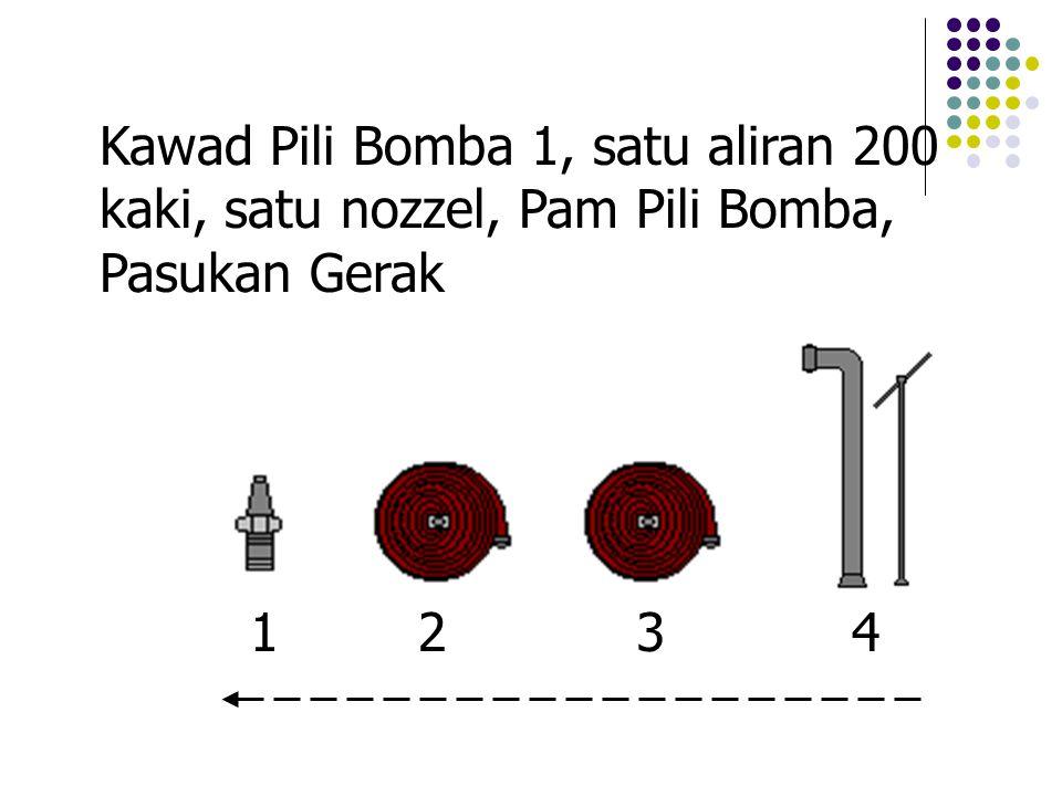 Kawad Pili Bomba 1, satu aliran 200 kaki, satu nozzel, Pam Pili Bomba, Pasukan Gerak