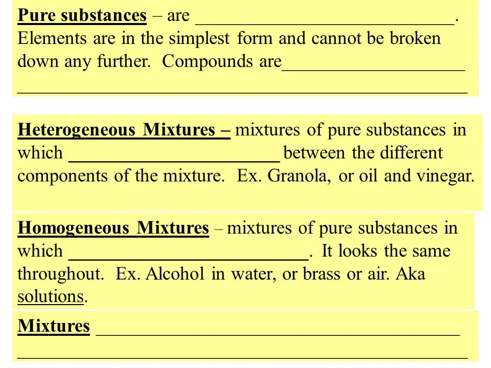 Pure substances – are ___________________________