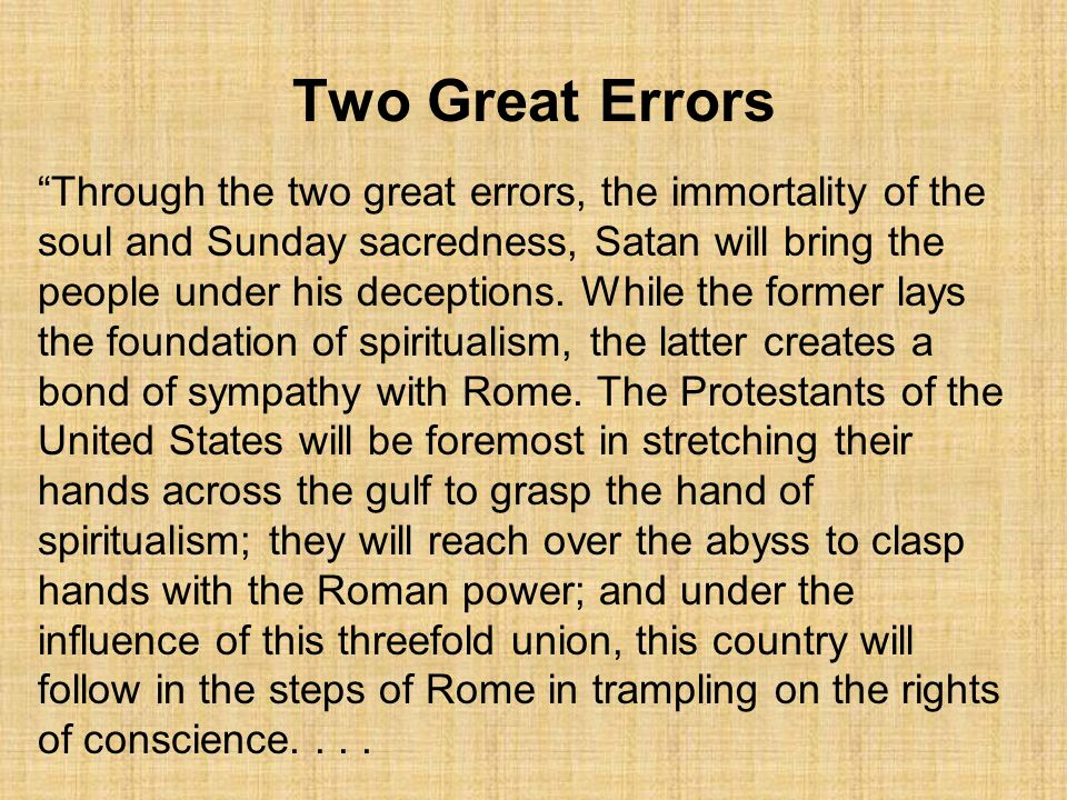 Two Great Errors