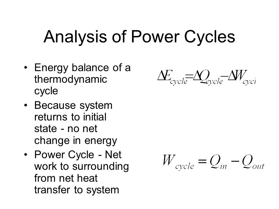 Analysis of Power Cycles