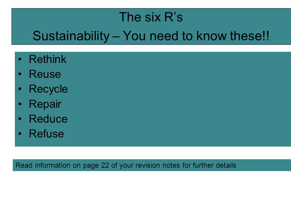 The six R's Sustainability – You need to know these!!