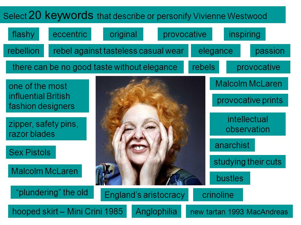 Select 20 keywords that describe or personify Vivienne Westwood