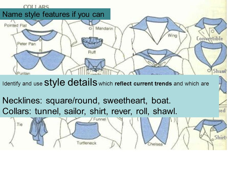 Necklines: square/round, sweetheart, boat.