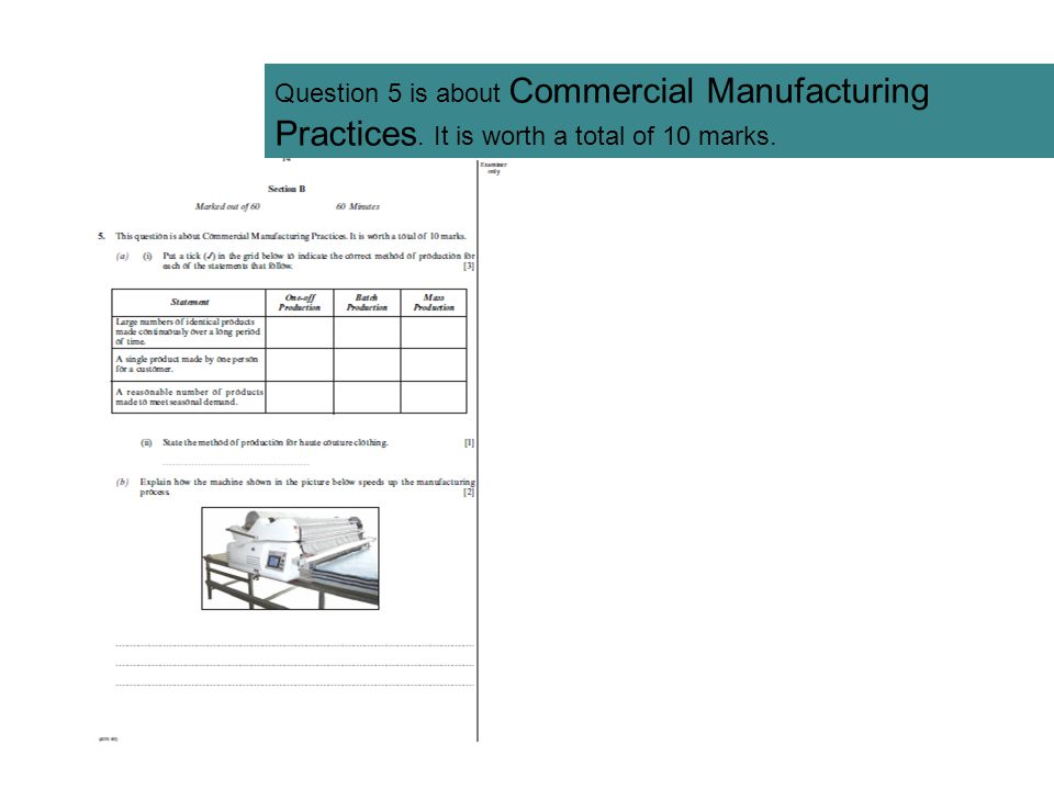 Question 5 is about Commercial Manufacturing Practices