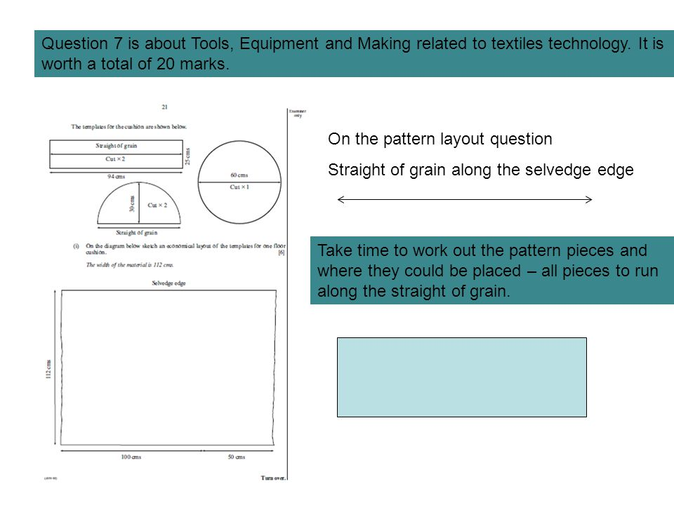 Question 7 is about Tools, Equipment and Making related to textiles technology. It is worth a total of 20 marks.