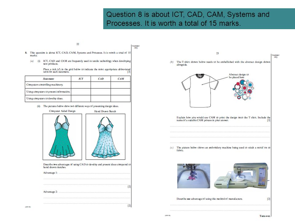 Question 8 is about ICT, CAD, CAM, Systems and Processes