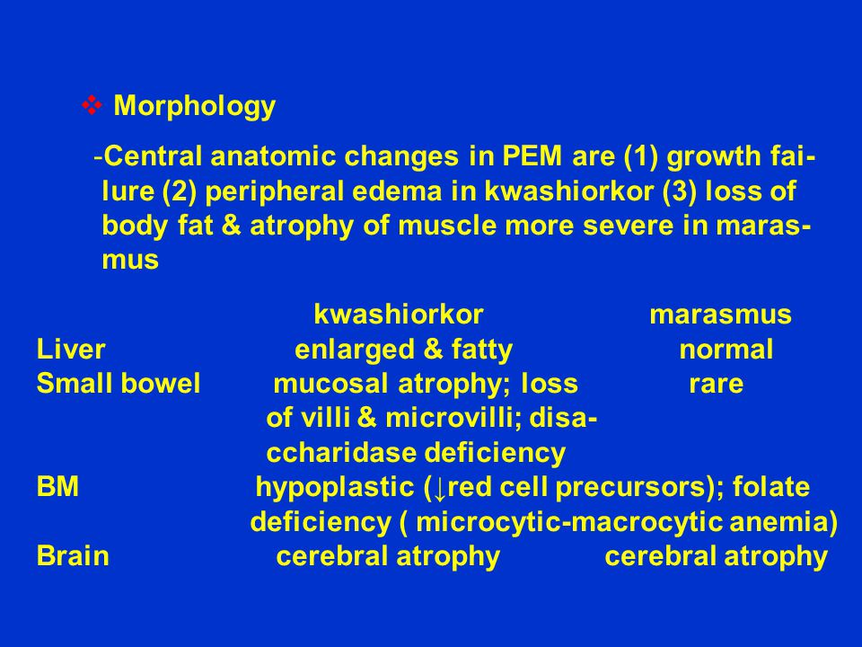 Morphology Central anatomic changes in PEM are (1) growth fai- lure (2) peripheral edema in kwashiorkor (3) loss of.