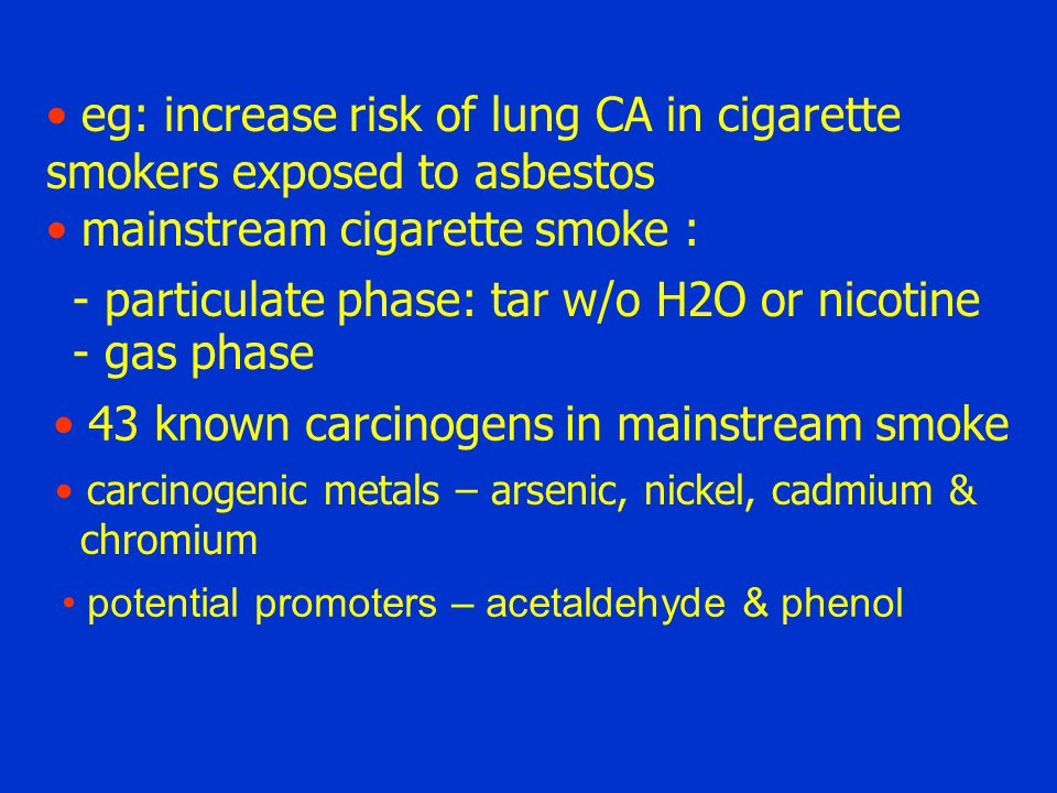 eg: increase risk of lung CA in cigarette smokers exposed to asbestos