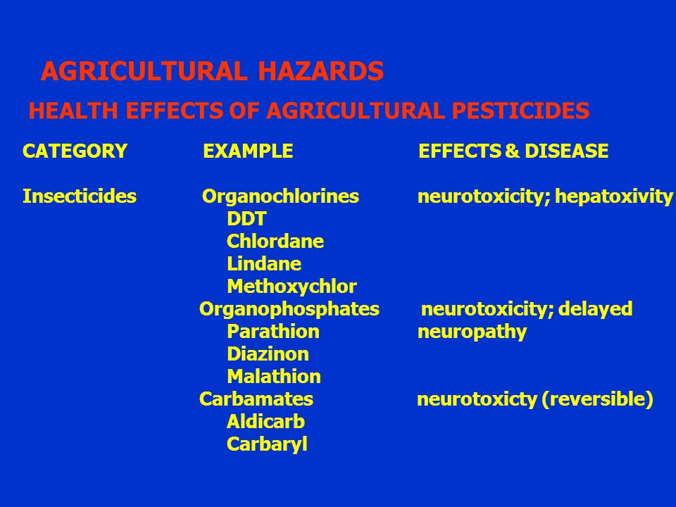 AGRICULTURAL HAZARDS HEALTH EFFECTS OF AGRICULTURAL PESTICIDES
