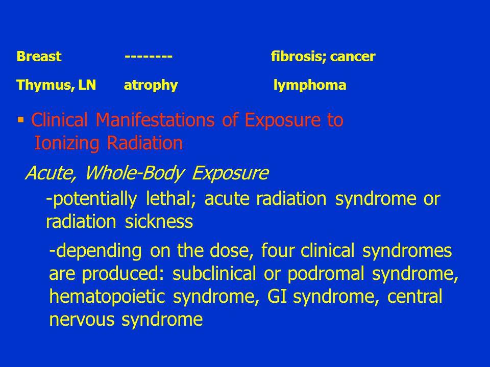Clinical Manifestations of Exposure to Ionizing Radiation