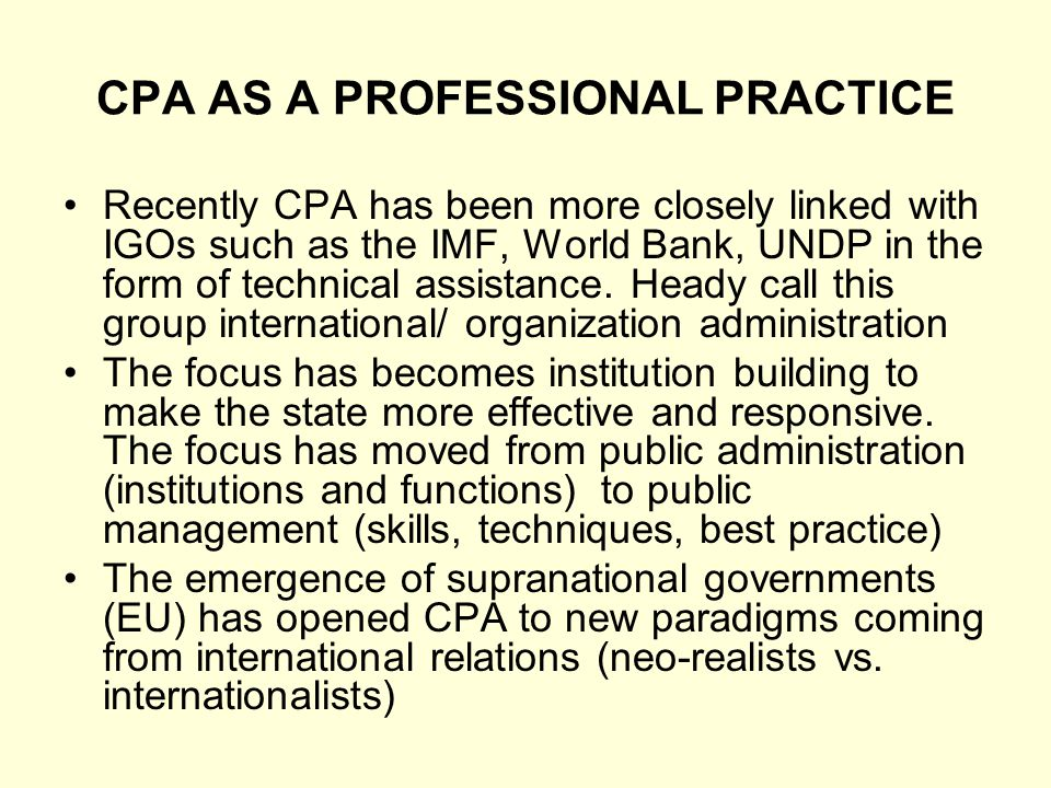 CPA AS A PROFESSIONAL PRACTICE