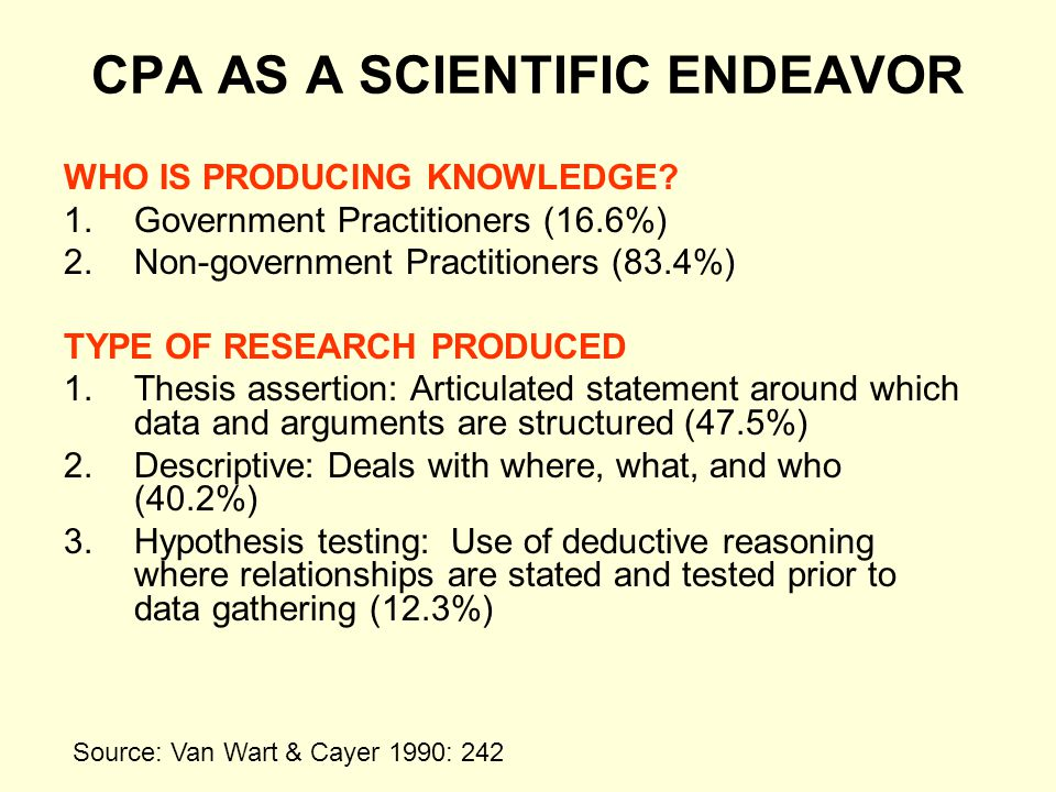 CPA AS A SCIENTIFIC ENDEAVOR
