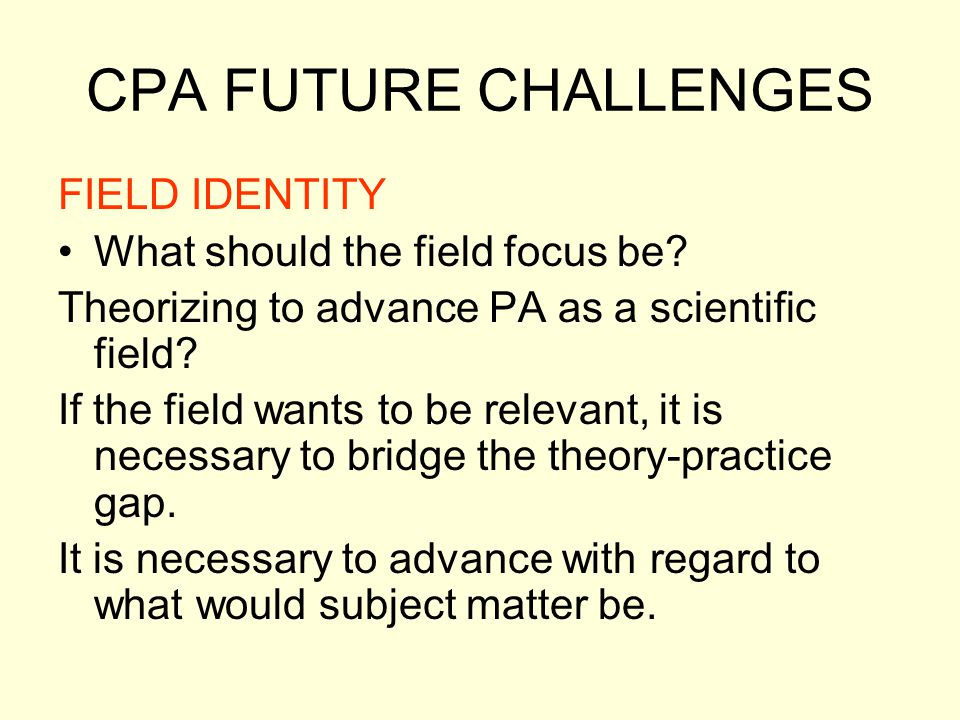 CPA FUTURE CHALLENGES FIELD IDENTITY What should the field focus be
