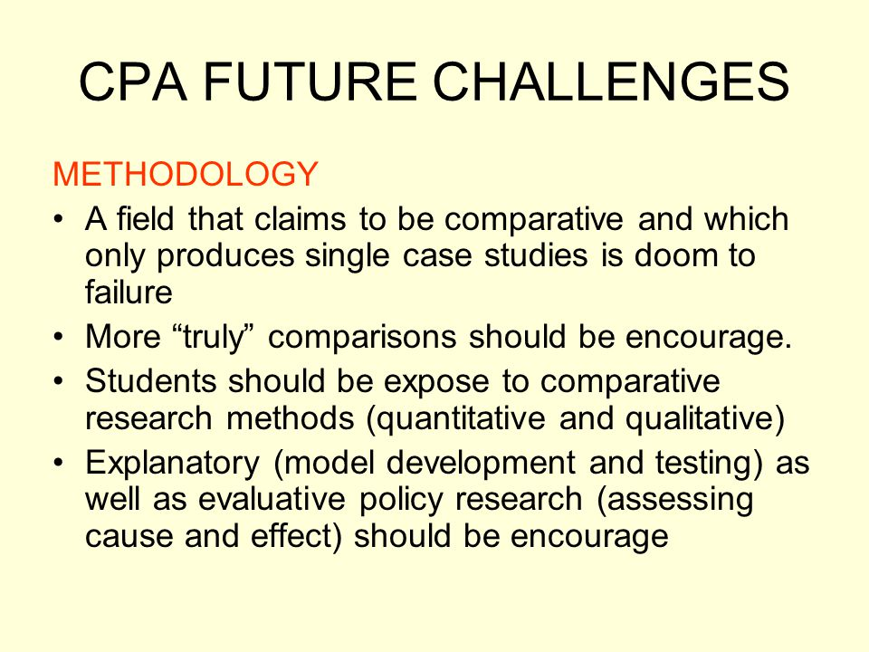 CPA FUTURE CHALLENGES METHODOLOGY