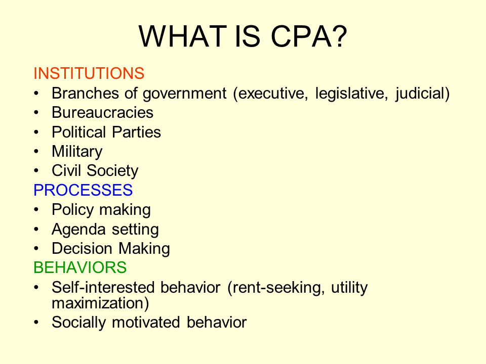 WHAT IS CPA INSTITUTIONS