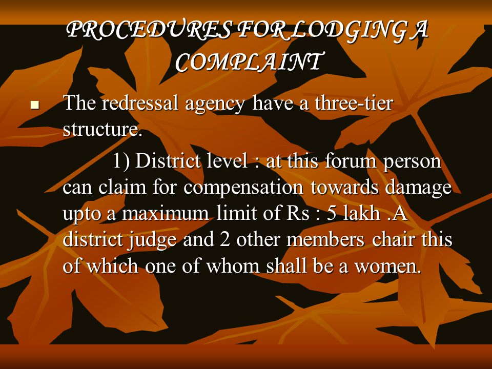 PROCEDURES FOR LODGING A COMPLAINT