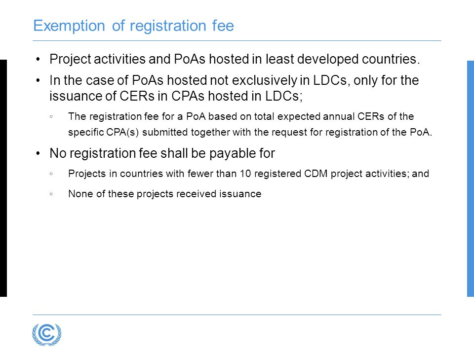 Exemption of registration fee