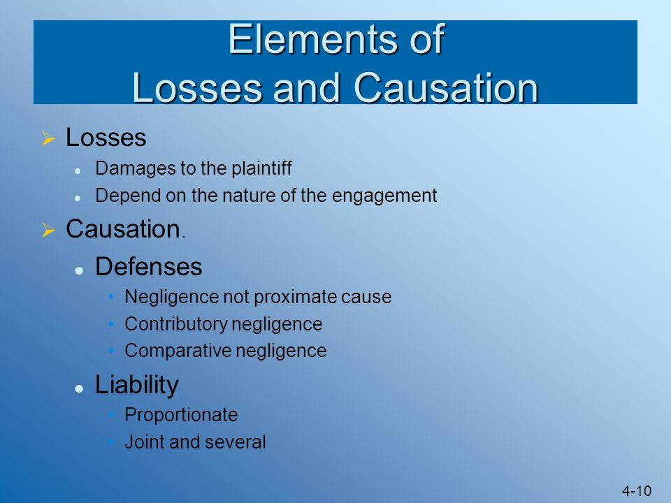 Elements of Losses and Causation