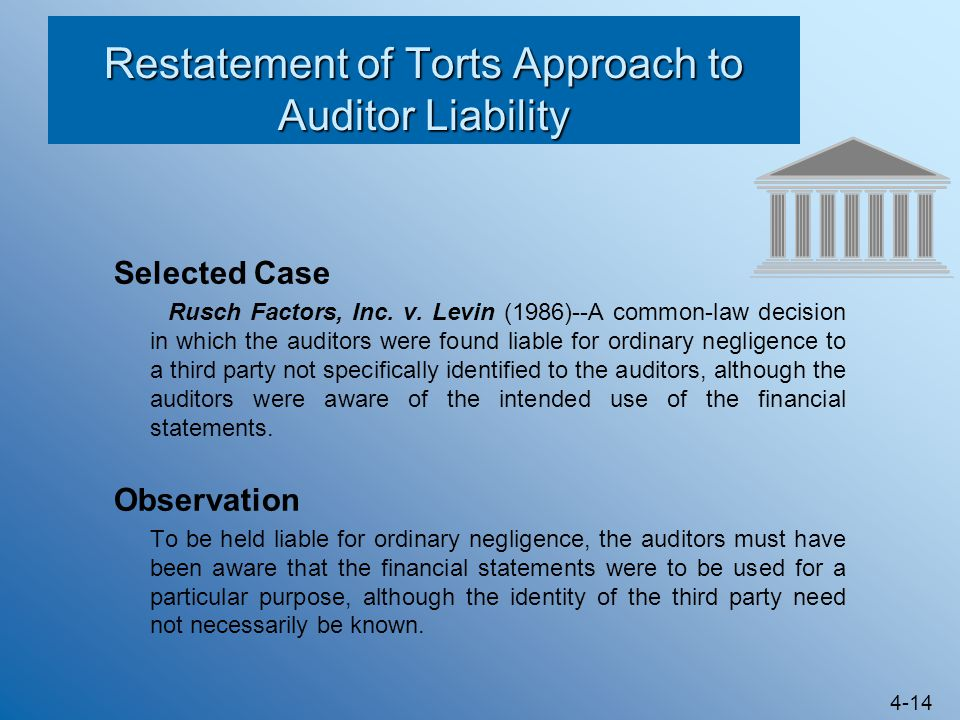 Restatement of Torts Approach to Auditor Liability