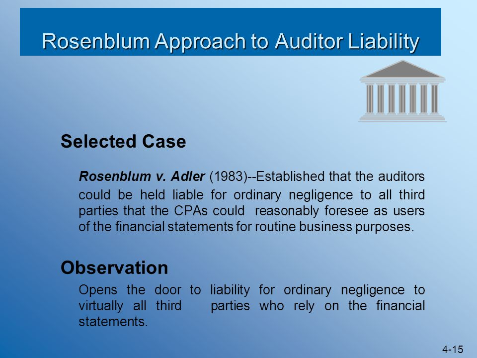 Rosenblum Approach to Auditor Liability