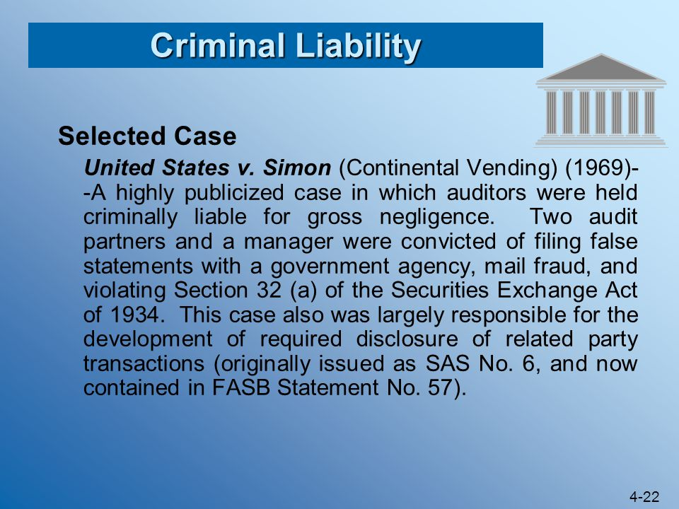 Criminal Liability Selected Case