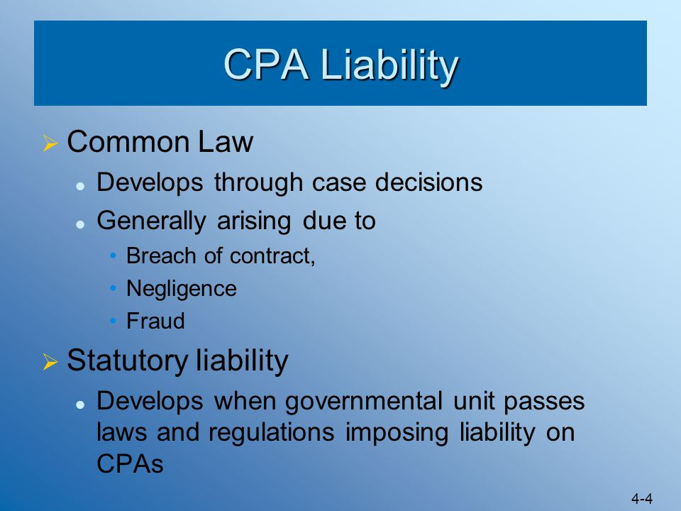 CPA Liability Common Law Statutory liability